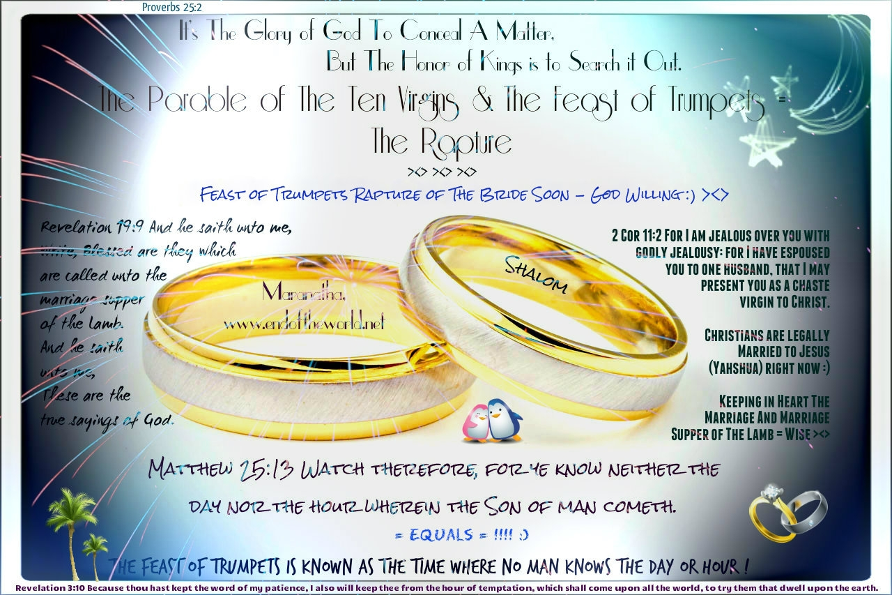 The Rapture of The Bride - The Feast of Trumpets/Rosh Hashana